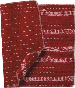 NEW Set of 4 Kantha Placemats - Decor Stripes Red - 38670