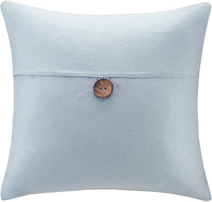 NEW 20x20 Linen Button Pillow by Madison Park - Blue MP30-2339