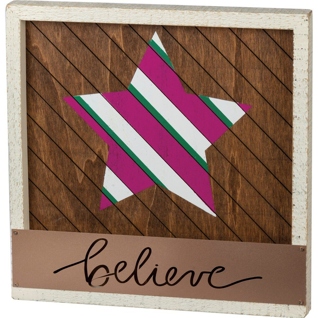 NEW Inset Slat Box Sign - Believe - 101222