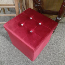 "Load image into Gallery viewer, 14.5"" x 14.5"" Red Microfiber Storage Ottoman"