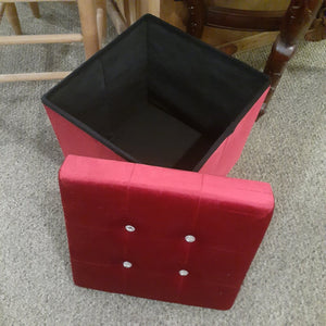 "14.5"" x 14.5"" Red Microfiber Storage Ottoman"