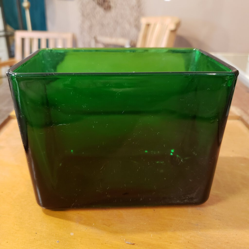 VINTAGE Emerald Green Glass Rectangular Vase - Napco 1164