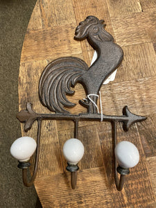 Cast Iron Rooster with 3 Hooks