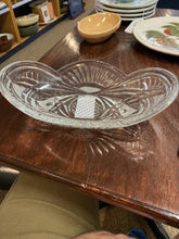 Load image into Gallery viewer, Shallow Oval Cut Glass Bowl 10""