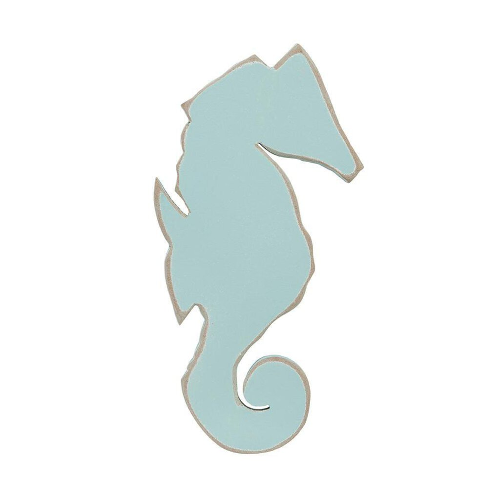 NEW Painted Wooden Seahorse - Aqua - Small
