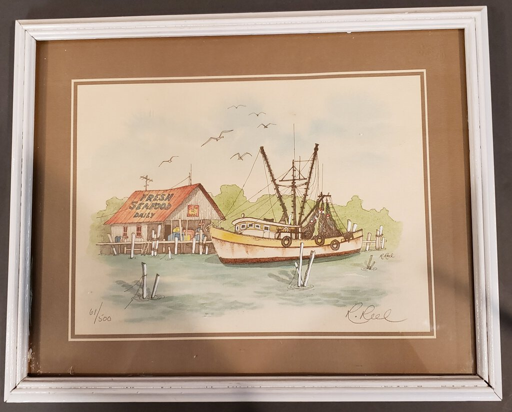 Framed, Signed, & Numbered Watercolor Print - Fresh Seafood