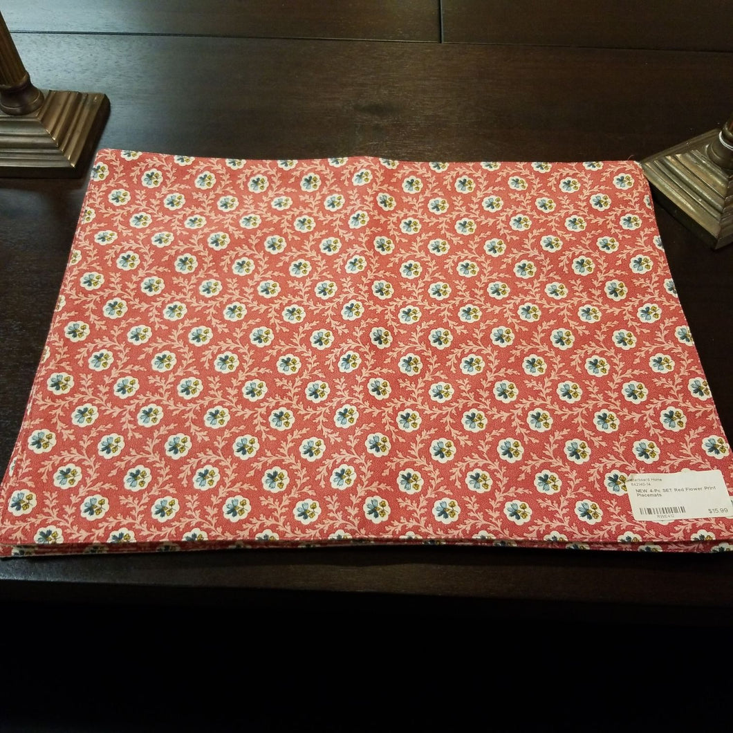 NEW 4-Pc SET Red Flower Print Placemats