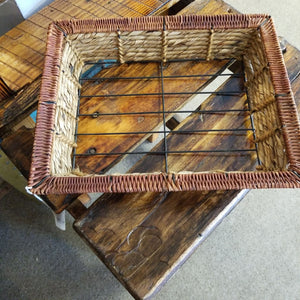 Wicker & Metal Divided Tray with Two Inserts