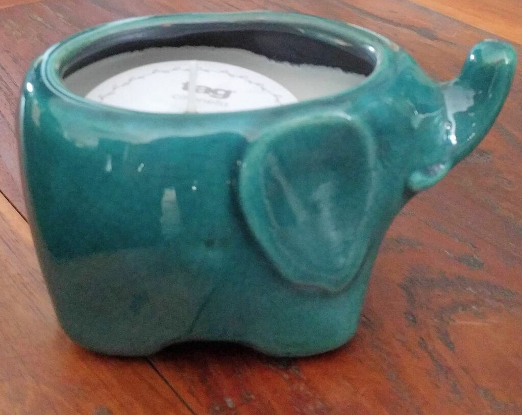 NEW Turquoise Ceramic Elephant Citronella Candle