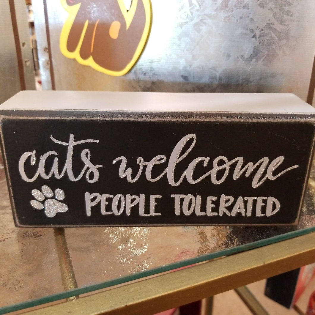 NEW  Box Sign - Cats Welcome - 92779