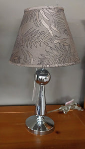 "NEW 22"" Chrome Table Lamp w/ Leaf Pattern Shade"