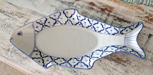 "NEW 15"" Hand-Painted Blue & White Fish Platter - Thailand"