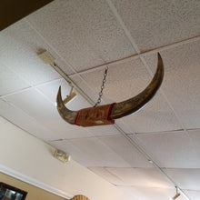 "Load image into Gallery viewer, 40"" Etched Steer Horns  & Carved Wood Mount - Philippines"