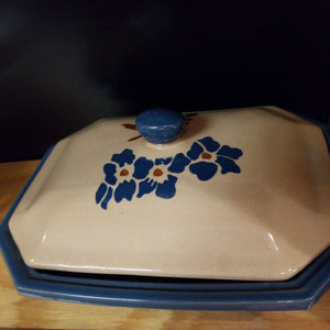 "10"" Blue/Brown Ceramic Covered Casserole"