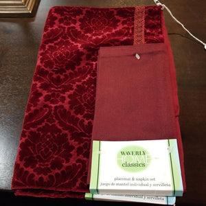 NEW PAIR Wine Velour Placemats w/ Cloth Napkins