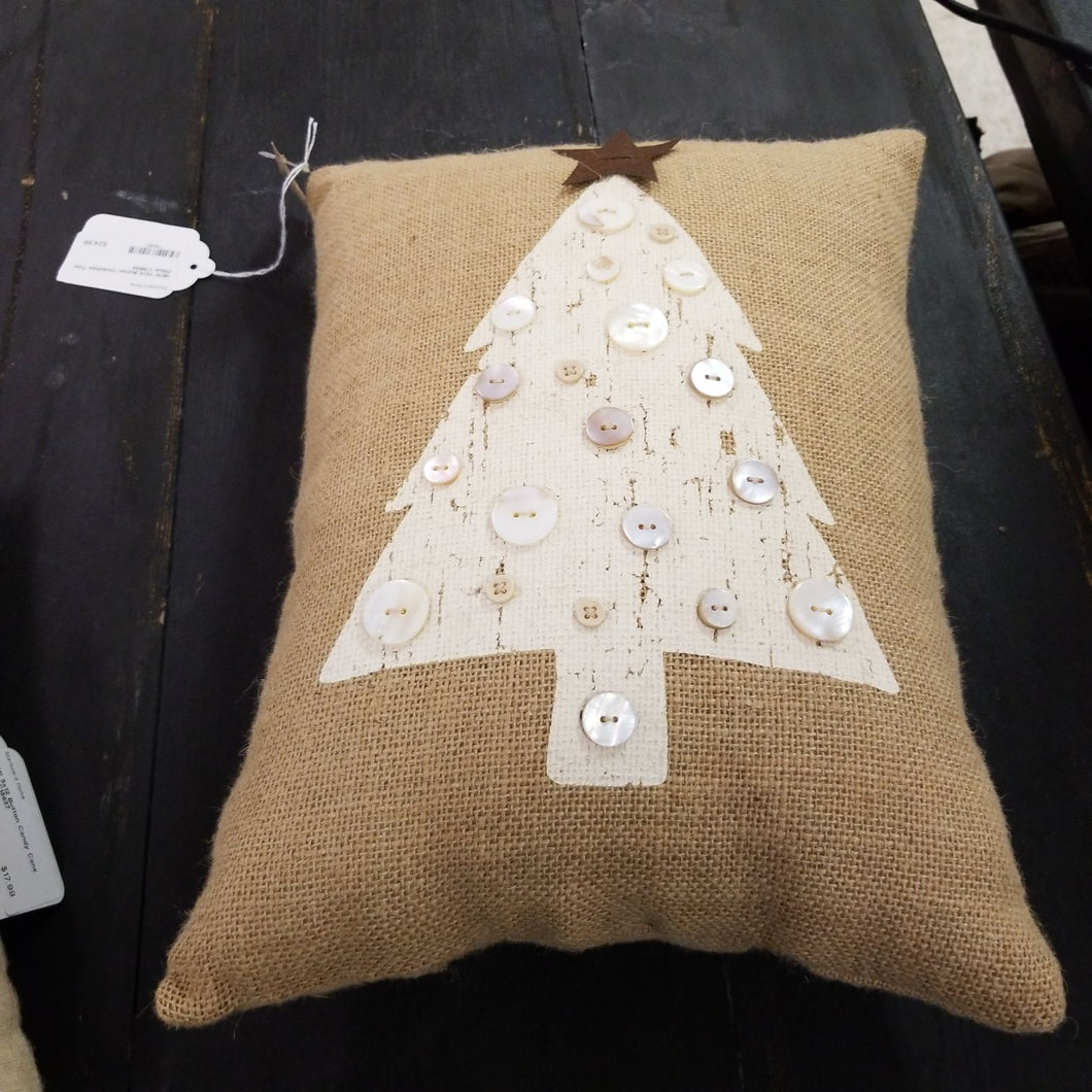 NEW 11x14 Button Christmas Tree Pillow C15634