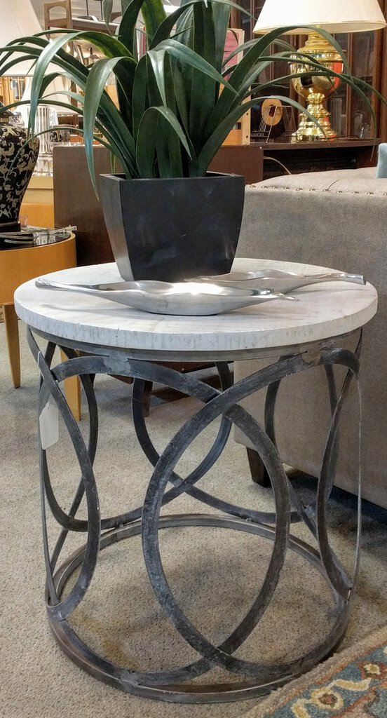 NEW Mango Wood & Metal Olympic Ring Accent Table - Washed White - PGI-9823-6