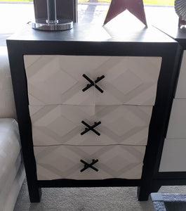 NEW Black & White 3 Drawer Chest  - 90630