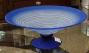 "14"" Frosted Blue Pedestal Bowl, Signed"