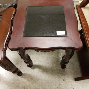 "20"" x 20"" x 24 Wood End Table with Black Chinese Granite Insert"