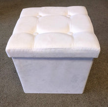 "Load image into Gallery viewer, NEW 14.5"" x 14.5"" White Microfiber Storage Ottoman"