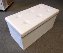 "Load image into Gallery viewer, 30"" x 15"" Cream Leatherette Storage Ottoman"