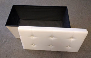 "30"" x 15"" Cream Leatherette Storage Ottoman"