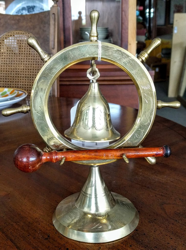 NEW - Brass Nautical Ship Wheel Bell with Wood Mallet