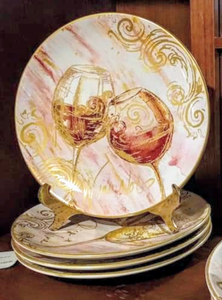 "NEW 4-Pc SET Certified International Wine All the Time 9"" Plates 26821 (assorted)"