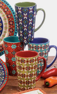 NEW 4-pc SET Certified International Monterrey 16oz Latte Mugs 15805 (assorted)