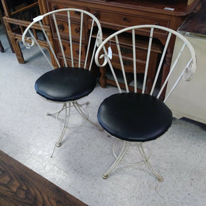 PAIR - Vintage Wrought Iron Crescent Back Metal Chairs