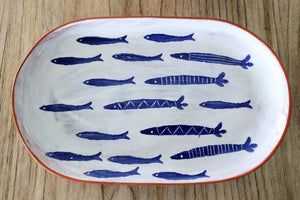 "NEW 14"" School Of Fish Terracotta Platter 40700086"