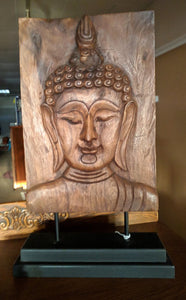 "20"" Buddha Face Wood Carving"