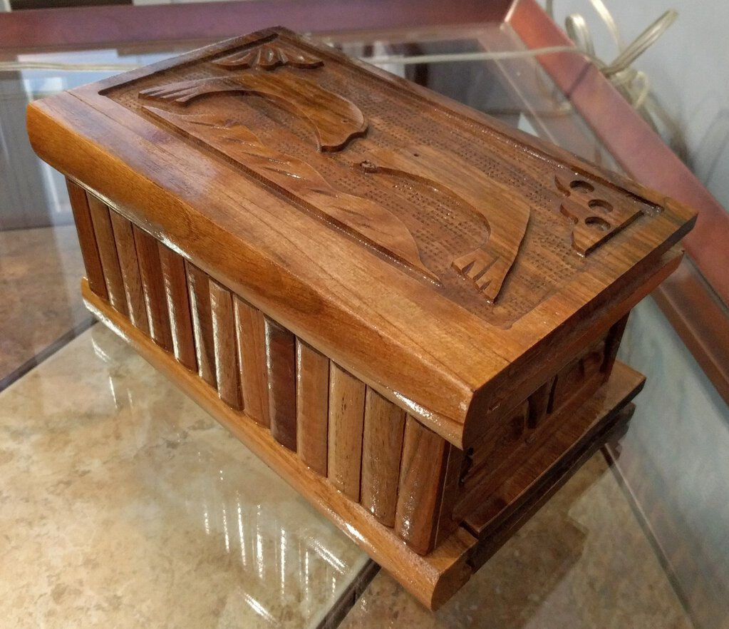 9.5 x 6 x 4.5 Carved Wooden Box with Dolphin Design