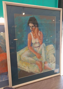"30"" x 24"" Framed, Matted, and Signed Pastel Art of Woman Sitting"