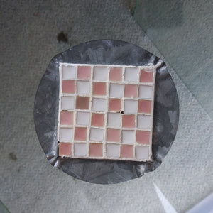 "4"" Vintage Pink and White Tile Ashtray"
