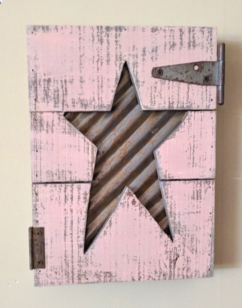 NEW 8x11 Rustic Cut Out Star Pallet Sign Hinged E17659
