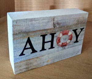 NEW 3x5 Ahoy Wood Block