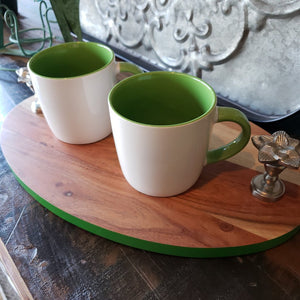 PAIR White & Green Mugs