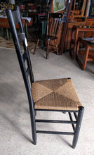 Load image into Gallery viewer, Distressed Black Rush Seat Ladderback Dining Chair