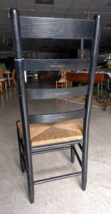 Distressed Black Rush Seat Ladderback Dining Chair