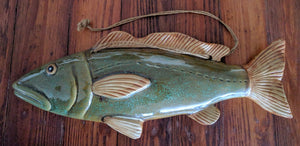 "16"" Ceramic Fish - Long Green"