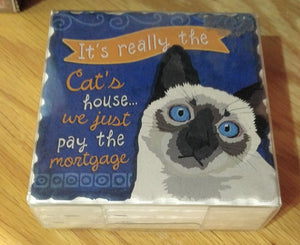 "NEW 4-Pc Stoneware Coaster Set - Cat ""It's really the Cat's house..."""
