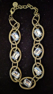 NEW Oversized Crystal and Chain Link Necklace