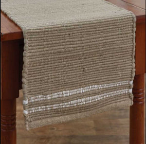 "NEW 54"" Cream Fieldstone Chindi Table Runner"