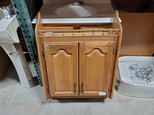 Wooden Medicine Cabinet with Towel Bar