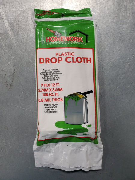 Plastic Drop Cloth 9ft X 12ft 0.8 mil thick