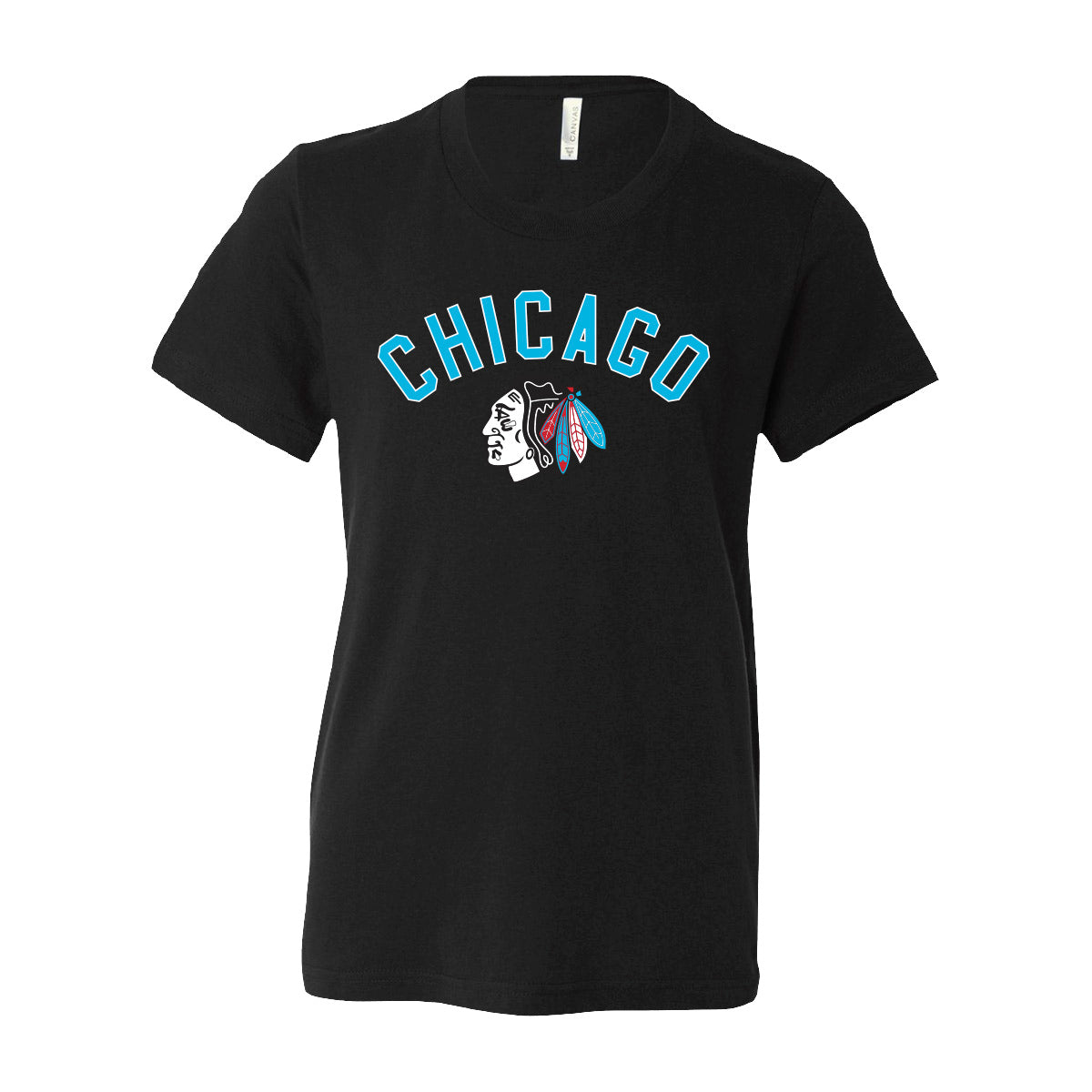 BLACKHAWKS LOGO YOUTH TEE -  BLACK
