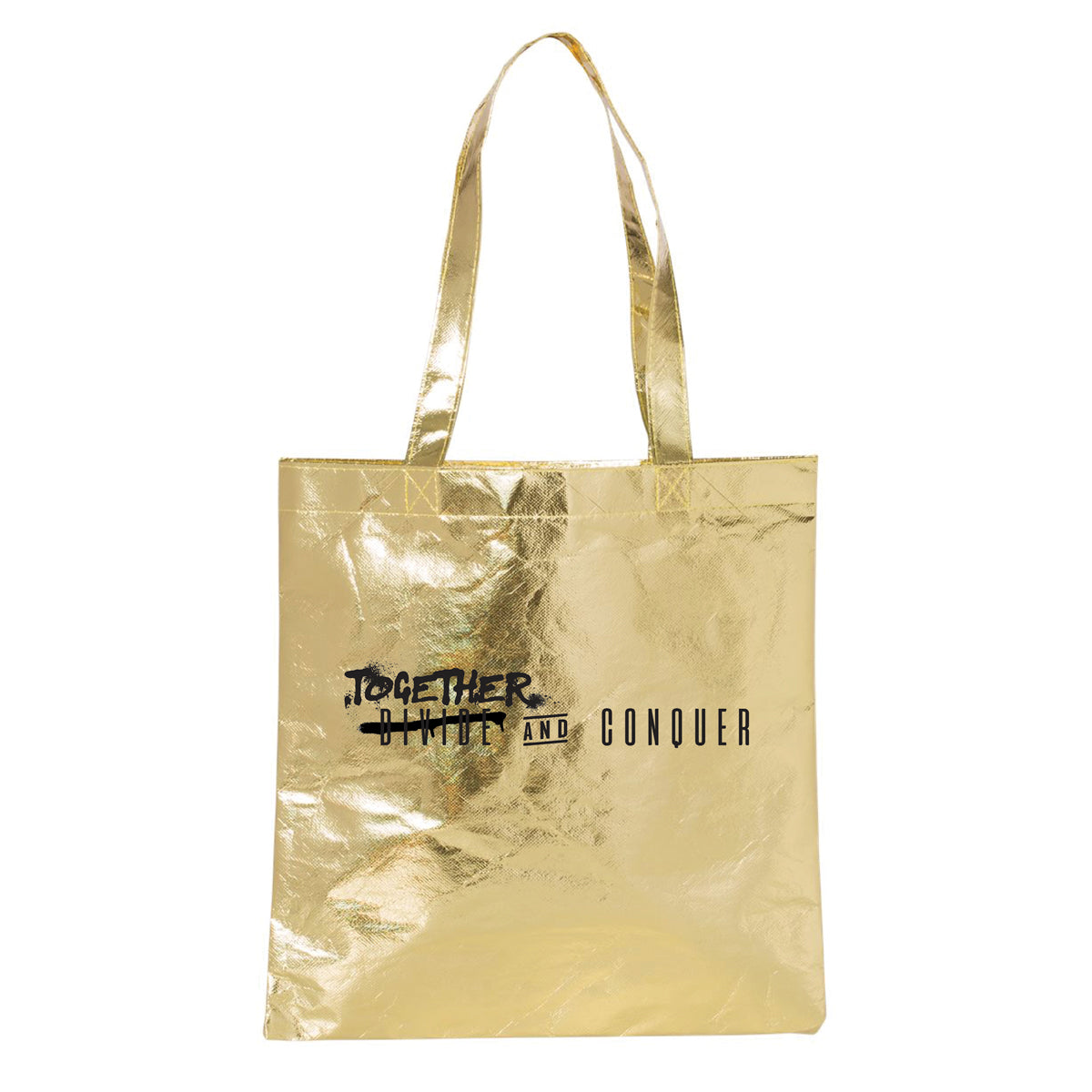 TOGETHER & CONQUER METALLIC GOLD TOTE