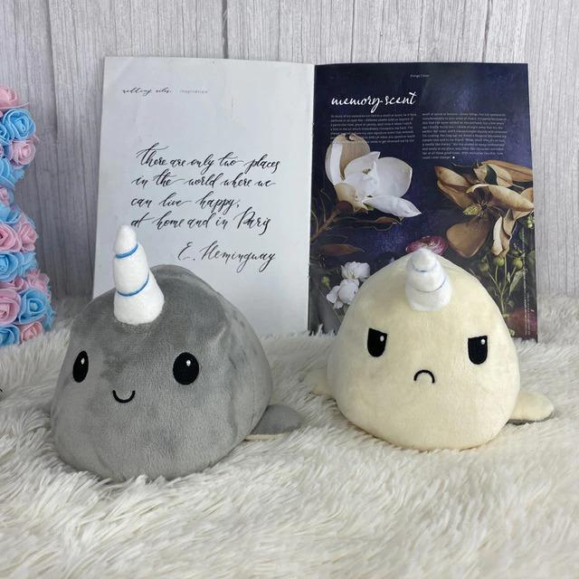 Plushies & Co ™ Grey & Beige Reversible Narwhal Plush